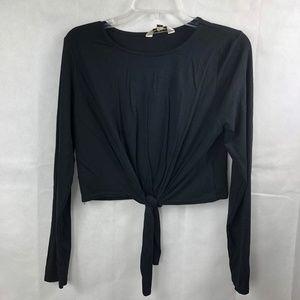 Miss Selfridge Black Long Sleeve Crop Top Size 8